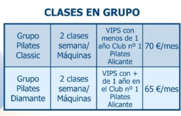 Tarifa Grupos Pilates